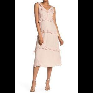 Pleated ruffle trim v-neck dress